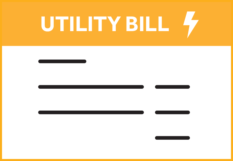 Orange box icon that says Utility Bill with an energy bolt