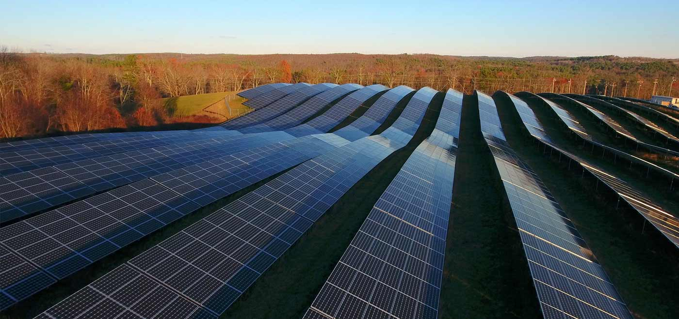 Community solar farm in the fall